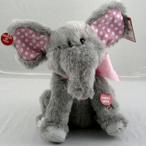 Animated Stuffed Elephant- Pink