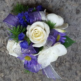 Purple & White Wrist Corsage
