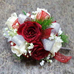 Red &  White Wrist Corsage